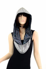 Silver Holo & Black Holo Reversible Infinity Festival Hood - Coquetry Clothing