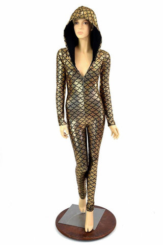 Gold Dragon Long Sleeve Catsuit - Coquetry Clothing