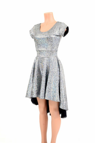 Silver Holo Hi Lo Skater Dress - Coquetry Clothing