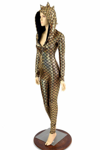Gold Dragon Hooded Catsuit - Coquetry Clothing
