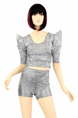 Sharp Shoulder Crop & Shorts Set - Coquetry Clothing