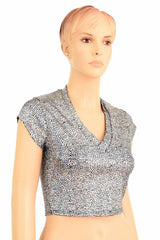 Silver V Neck Crop Top - Coquetry Clothing