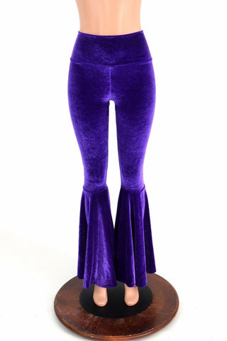 High Waist Velvet Bell Bottoms - Coquetry Clothing