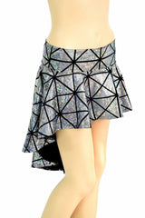 Silver Cracked Tile Hi Lo Rave Skirt - Coquetry Clothing
