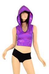 Grape Purple Crop Hoodie - Coquetry Clothing