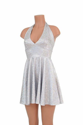 "White ""Marilyn"" Halter Skater Dress - Coquetry Clothing"