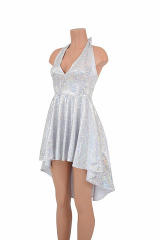 Hi Lo Silvery White Halter Dress - Coquetry Clothing