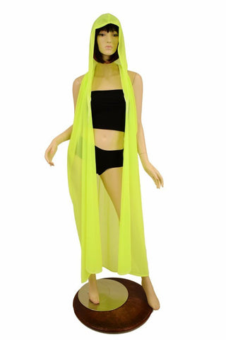 Yellow Mesh Hooded Racerback Duster - Coquetry Clothing