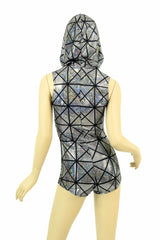 Cracked Tile Sleeveless Hoodie Romper - Coquetry Clothing