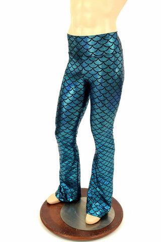 Mens Turquoise Dragon Bootcut Leggings - Coquetry Clothing