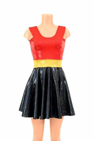 Red/Black Super Hero Skater Dress - Coquetry Clothing