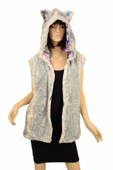 Minky Long Vest with Zipper and Kitty Ears - Coquetry Clothing