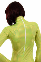 Lime Holographic Turtle Neck Catsuit - Coquetry Clothing