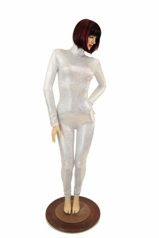 Silvery White Turtle Neck Catsuit - Coquetry Clothing