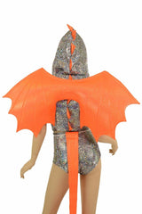 2PC Silver/Orange Dragon Set (+Wings & Tail!) - Coquetry Clothing