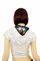 Galaxy Lined Silvery Crop Hoodie - Coquetry Clothing