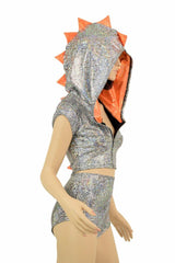 Silver/Orange Dragon Hoodie Set - Coquetry Clothing
