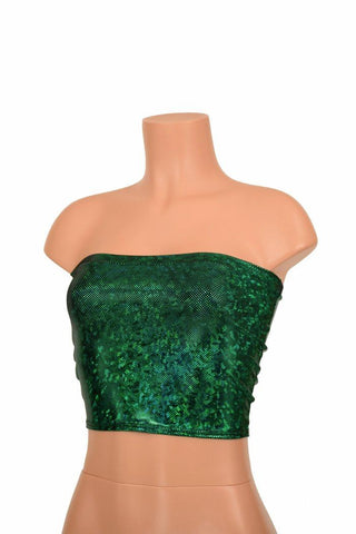 Green Holographic Tube Top - Coquetry Clothing