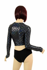 Black Dragon Long Sleeve Crop - Coquetry Clothing
