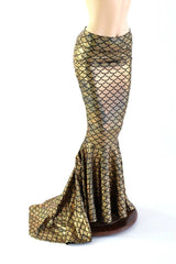 Gold High Waist Mermaid Skirt with Puddle Train - Coquetry Clothing
