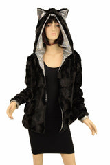 Black Minky Faux Fur Long Jacket with Kitty Ears - Coquetry Clothing