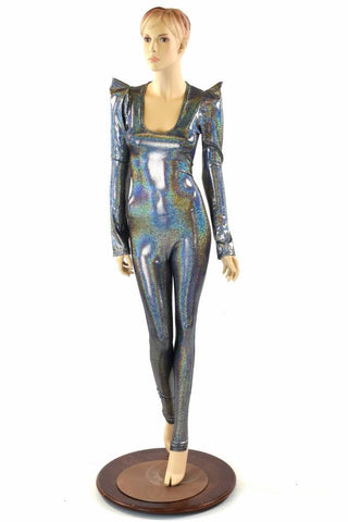 Silver Holographic Sharp Shoulder Catsuit - Coquetry Clothing