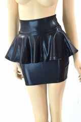 Black Metallic Peplum Skirt - Coquetry Clothing