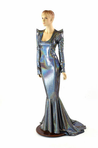 Silver Holographic Gown - Coquetry Clothing