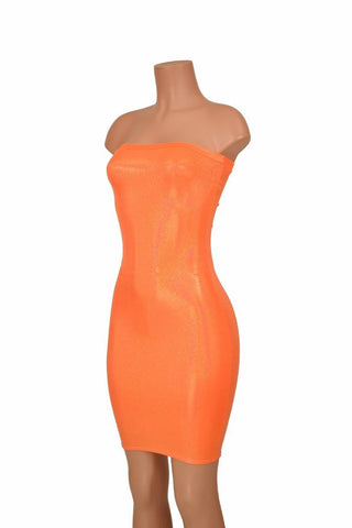 Strapless Orange Tube Dress - Coquetry Clothing