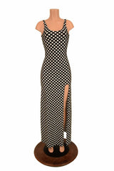 Black & White Slit Gown - Coquetry Clothing