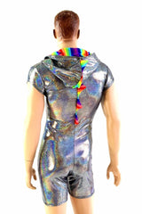 Mens Silver & Rainbow Dragon Romper - Coquetry Clothing
