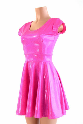 Neon Pink Holographic Skater Dress - Coquetry Clothing