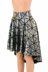 Silver Holographic Hi-Lo Skater Skirt - Coquetry Clothing