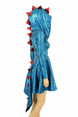 Turquoise Dragon Hoodie Skater Dress - Coquetry Clothing