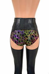 Black Holographic Chaps - Coquetry Clothing