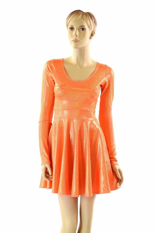 Orange Holographic Skater Dress - Coquetry Clothing