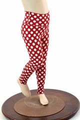 Kids Red & White Polka Dot Leggings - Coquetry Clothing