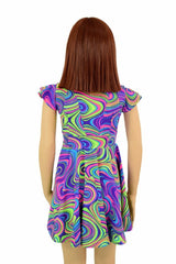 Girls Neon Glow Worm Skater Dress - Coquetry Clothing
