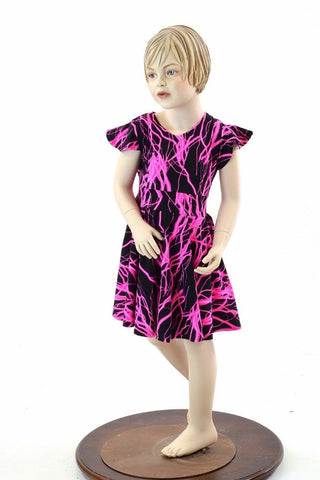 Girls Pink Lighting Skater Dress