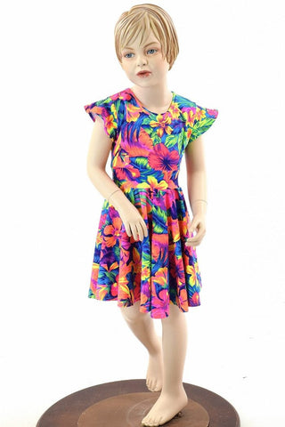 Girls Tahitian Floral Skater Dress