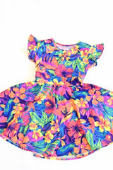 Girls Tahitian Floral Skater Dress - Coquetry Clothing