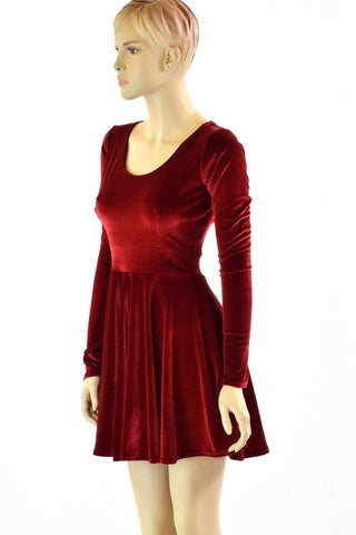 Red Velvet Long Sleeve Skater Dress - Coquetry Clothing