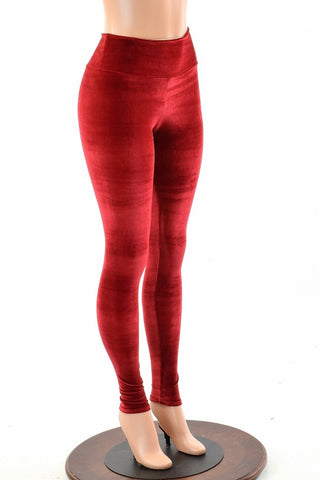 Red Velvet High Waist Leggings - Coquetry Clothing