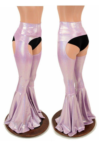 Lilac Holo Bell Bottom Flare Chaps - Coquetry Clothing