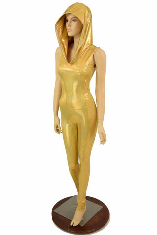 Gold Holographic Hooded Catsuit - Coquetry Clothing