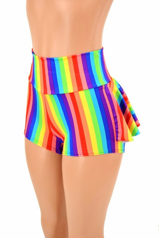Rainbow Stripe Ruffle Rump Shorts - Coquetry Clothing