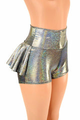 Silver Holographic Ruffle Rump Shorts - Coquetry Clothing