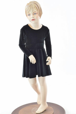 Kids Black Velvet Skater Dress - Coquetry Clothing