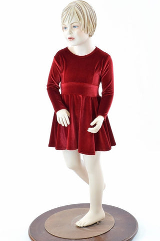 Girls Red Velvet Skater Dress - Coquetry Clothing