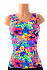 Full Length Scoop Neck Tahitian Floral Top - Coquetry Clothing